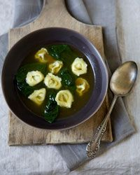 Hot school lunch ideas: Tortellini and Spinach in Garlic Broth