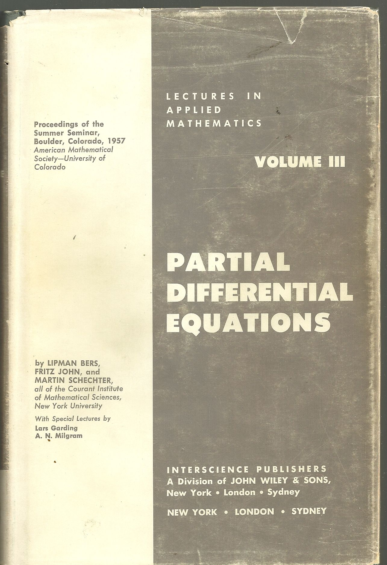 Partial Differential Equations (Lectures in Applied Mathematics, Vol. 3)